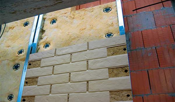 облицовка и утепление стены с применением кирпичной плитки