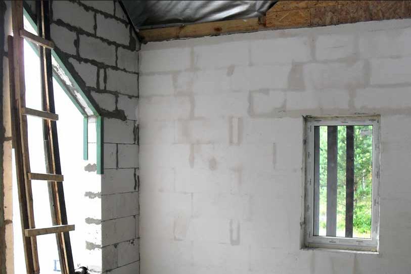 Штукатурка стены из газобетона