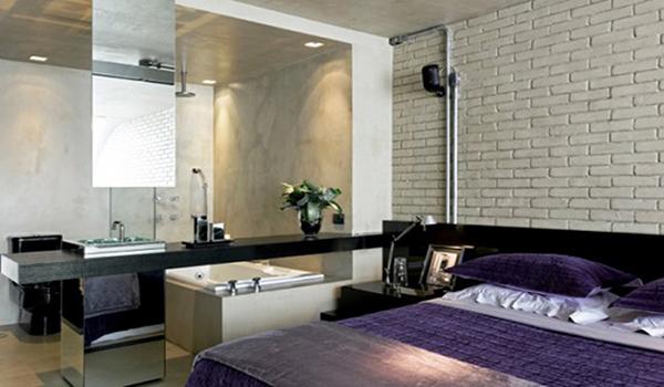 кирпичная плитка в спальне