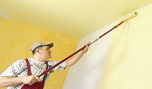 покраска стен валиком с длинной ручкой