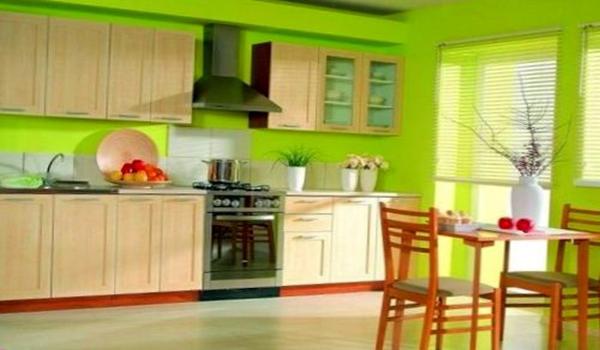 оформление кухонных стен краской