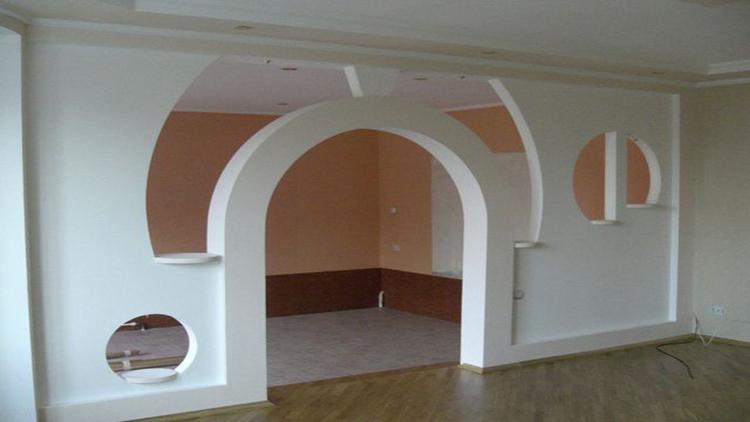 гипсокартонная фальш-стена арка