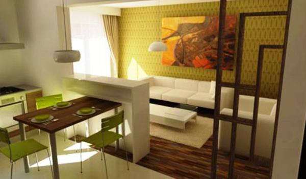 зонирование помещения с помощью разных обоев