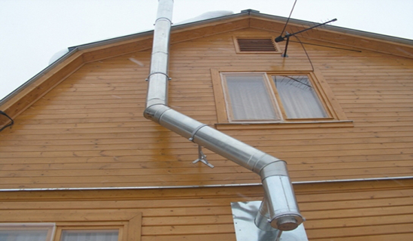 вывод дымохода через деревянную стену
