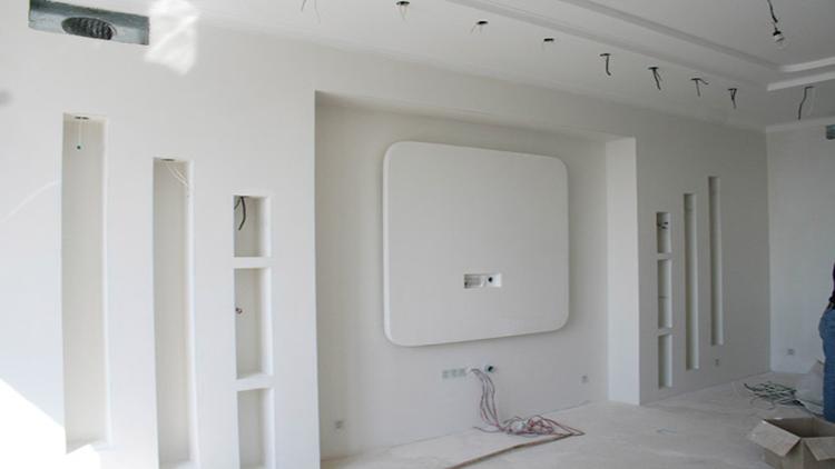 Красивый короб из гипсокартона на стене