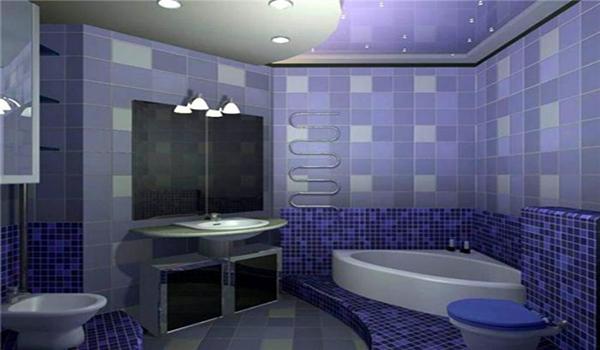 отделка туалета в фиолетовых тонах