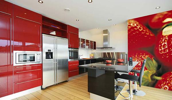 Декор части кухни фотообоями