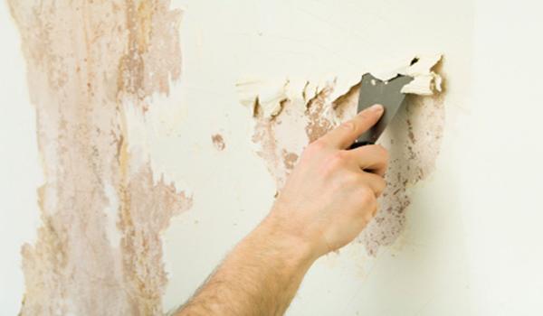 снятие побелки со стены сухим способом