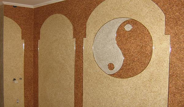 символ инь-янь из жидких обоев