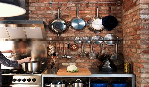 кирпичные стены на кухне как элемент дизайна
