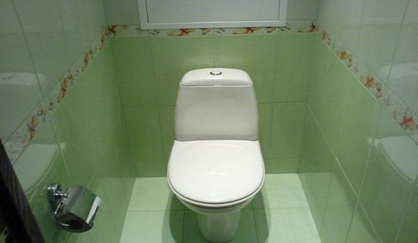 простой декор туалета керамической плиткой