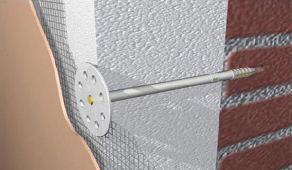 схема монтажа пенопластных плит с помощью зонтов