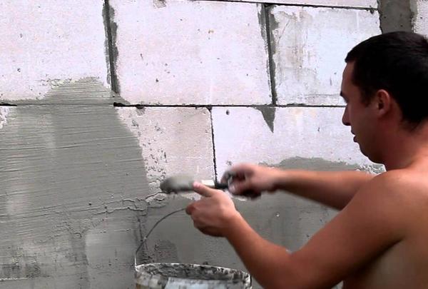 штукатурка стены из пеноблоков