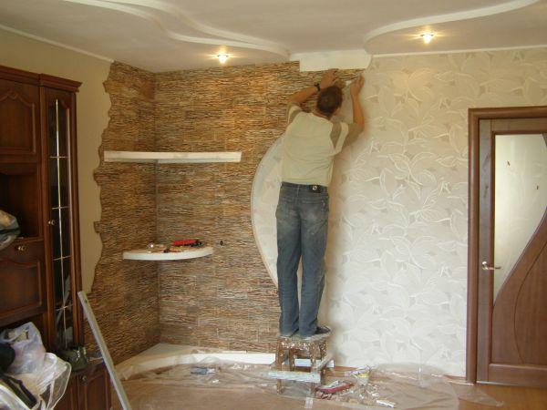 внутренняя отделка стен камнем из гипса