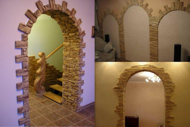 Отделка внутренней стороны арки камнем