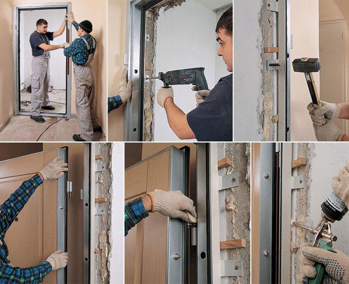 Этапы установки металлической двери