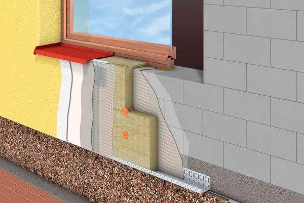 Наружное утепление откосов окна и стен