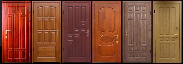 Разные виды дверей, отделанных панелями МДФ