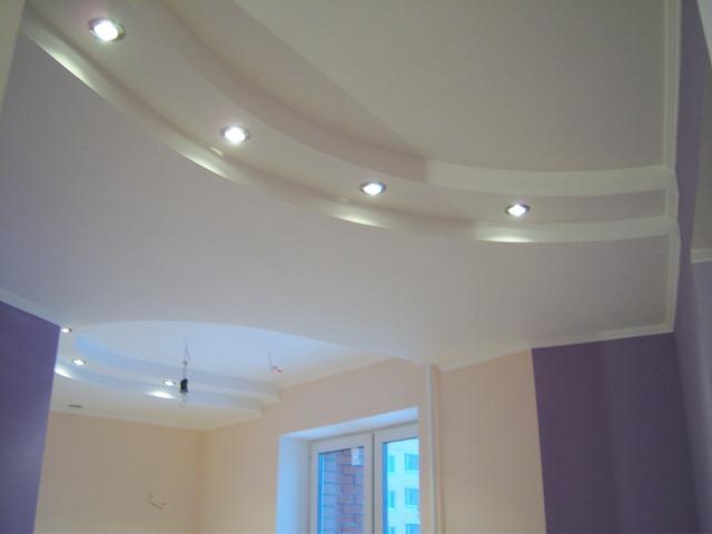 Точечные лампы на потолке