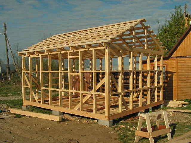 Деревянный каркас для гаража