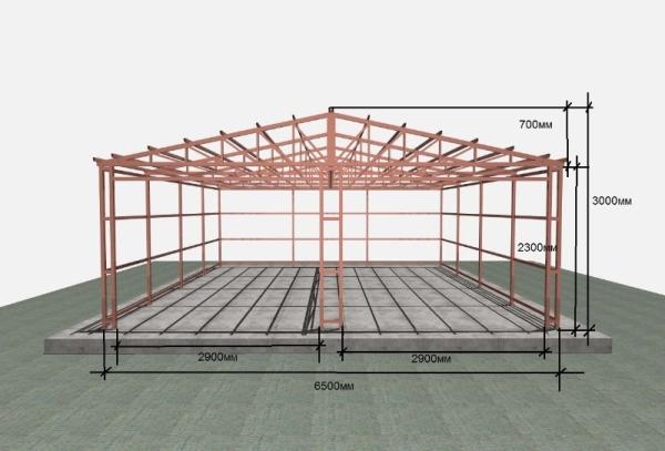 Металлический каркас для строительства гаража