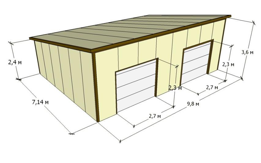 Проект гаража из сэндвич панелей