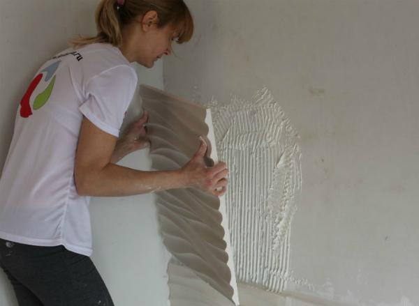 Монтаж гипсовых рельефных 3D панелей