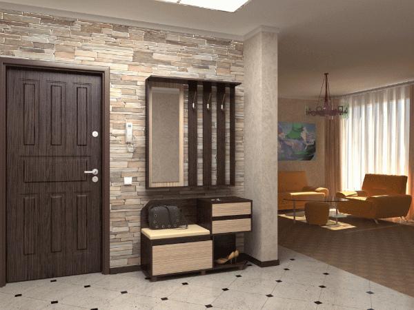 Сочетание плитки на полу с декоративным камнем на стене прихожей