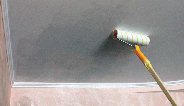 Грунтовка потолка валиком на длинной ручке