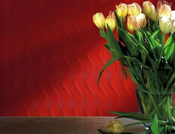 Флизелиновое настенное покрытие ярко красного цвета