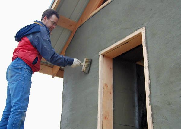Внешняя отделка деревянного дома цементным раствором