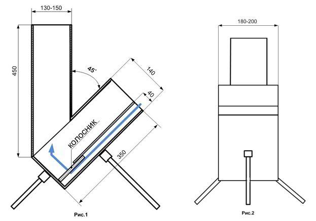 Схема-чертеж ракетной печи из профильной трубы